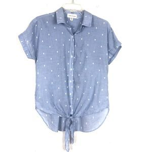 Cloth & Stone Button Down Blue Tie Front Blouse XS
